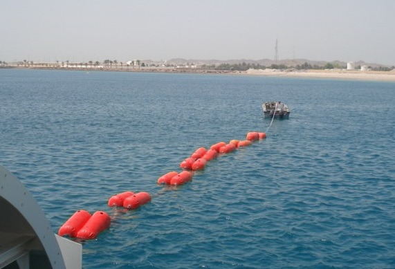 Pipe float on sea